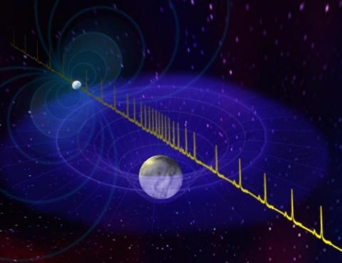 중성자별과 짝별인 백색왜성 상상도, 중성자별이 방출하는 펄스파가 짝별의 영향으로 지연되는 현상을 이용해 짝별과 중성자별의 질량을 계산해낼 수 있다. ⓒ BSaxton, NRAO/AUI/NSF
