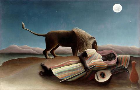 앙리 루소,잠자는 집시여인(1897), 교교한 달빛 때문에 더 기괴한 느낌이 든다. ⓒ 위키백과