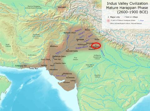인더스 하라파 문명이 번성할 때(2600~1900 BCE)의 인더스 문명 지역 지도. 원형 표시는 고고학 유적지인 라키가리 시.  Credit: Wikimedia / Avantiputra7