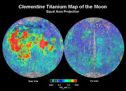 달 표면의 타이타늄 분포도ⓒUSRA