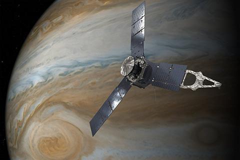 주노 탐사선은 목성 중력장을 측정해서 대기 흐름을 알아냈다. © NASA/JPL-Caltech