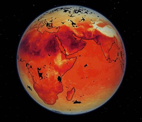 온실가스 과다 배출이 지난 인류세 동안 50여 번 반복돼온 빙하기와 간빙기의 사이클을 파괴하고 있으며 다가오는 빙하기를 약 10만 년 앞당기고 있다는 주장이 제기되고 있다. 사진은 뜨거워진 지구 온도를 측정한 영상. ⓒNASA