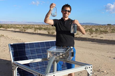 물 수확기는 매우 건조한 공기에서도 물을 추출할 수 있다. © Grant Glover, University of South Alabama