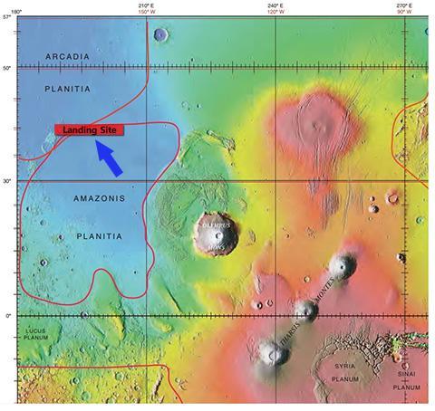 화성정찰위성이 촬영한 착륙 후보지가 밀집된 지역. 올림푸스 몬스(지도 중앙)에서 북서쪽으로 약 1000km 떨어진 곳이다. © NASA, Jim Secosky
