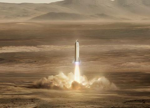스타쉽 최종 모델은 100명, 또는 화물 150톤을 화성으로 운반할 수 있다. © SpaceX