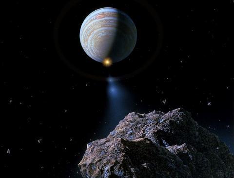 4억6600만 년 전 화성 궤도 부근에서 거대한 소행성이 충돌했으며, 이로 인해 발생한 우주먼지가 지구를 태양계와 지구를 뒤덮어 지구온도가 급격히 내려가고 'GOBE'라 불리는 대멸종사태가 발생했다는 주장이 제기됐다. 사진은 화가 돈 데이비스의 상상화. ⓒWikipedia/Don Davis