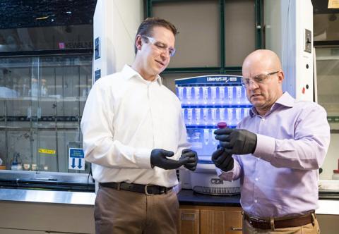 연구를 수행한 델러웨어대 재료과학공학부 데어린 포찬 교수(오른쪽)와 크리스토퍼 클록신 교수(왼쪽). CREDIT: Kathy F. Atkinson