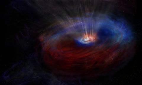 거대질량 블랙홀 주변을 반대방향으로 도는 원반을 그린 상상도. ⓒ NRAO/AUI/NSF, S. Dagnello