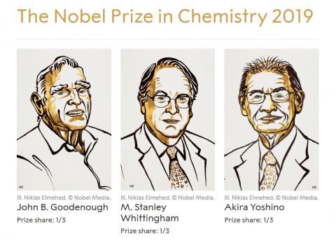 9일 노벨화학상을 수상한 (왼쪽부터) 존 구디너프 교수, 위팅엄 교수, 그리고 요시노 아키라 교수. 노벨위원회는 이들 세 사람이 리튬이온전지 분야 개척자로 최근 에너지 혁명에 크게 기여했다고 업적을 치하했다. ⓒnobelprize.org