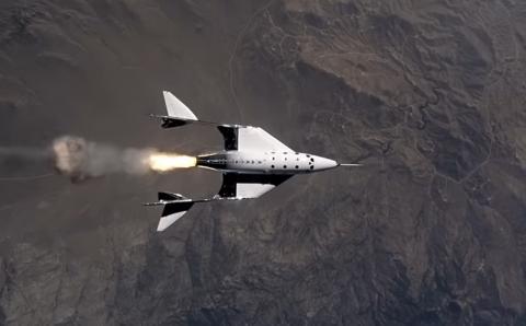 민간 기업인 '버진 갤럭틱'이 27일(현지 시간) 뉴욕증시 상장이 이루어지면서 민간 우주기업에 대한 주식투자가 가능해졌다. 사진은 버진 갤럭틱에서 로켓 파워의 우주비행체 조정실험을 하고 있는 장면. ⓒ Virgin Galactic