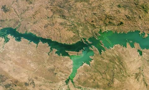 모잠비크의 카호라 바싸 호(Lago de Cahora Bassa)는 이번 연구에서 지난 30년 동안 담수호 조류 대발생 현상이 지속적으로 개선된 호수 가운데 하나로 밝혀졌다.  CREDIT: NASA Earth Observatory image made by Jesse Allen. using MODIS data from the Land Atmosphere Near-real-time Capability for EOS (LANCE) and Landsat data from the U.S. Geological Survey