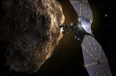 트로이 소행성을 탐사하는 루시 상상도. © NASA