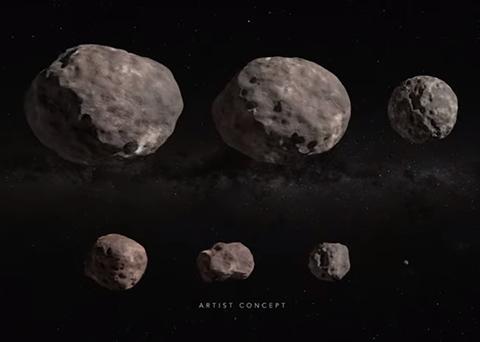 루시가 탐사할 소행성들의 크기 비교. © NASA Goddard