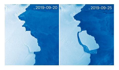 아메리 빙붕에서 3150억 통의 거대한 빙산 'D 28'이 떨어져나가는 장면. 9월 20일과 25일 사이에 왼쪽 아메리 빙붕과 빙산 간에 간격이 크게 넓어졌다. ⓒEU COPERNICUS DATA/SENTINEL-1/@StefLhermitte