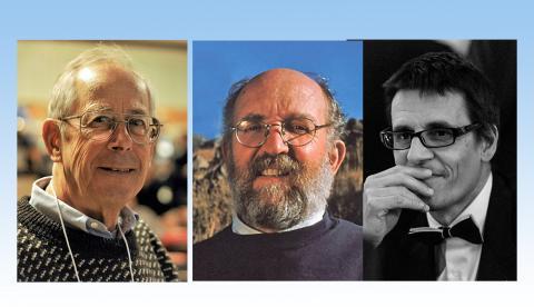 2019년 노벨물리학상을 수상한 (왼쪽부터) 미국 프린스톤 대학의 제임스 피블스 교수와, 스위스 제네바대 미셸 마요르. 디디에 쿠엘로 교수. 우주 생성의 비밀을 풀 수 있는 이론을 정립하고, 행성 관측을 수행한 공로를 인정받았다. ⓒWikipedia