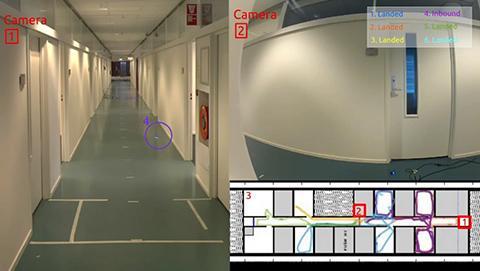 6대의 소형 드론이 8개의 열린 방이 있는 건물 내부를 탐색하는 모습. © TU Delft