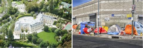 미국 로스앤젤레스 홀름비 힐스의 풍요로운 저택들과, 스키드 로우 지역의 노숙인 텐트가 빈부 격차를 극명하게 보여주고 있다.   Credit: Wikimedia / Atwater Village Newbie / Russ Allison Loar