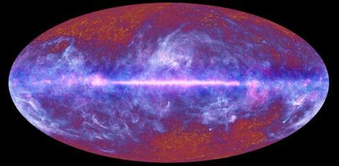 플랑크 위성 자료를 바탕으로 구성한 '우주극초단파 배경'(CMB)