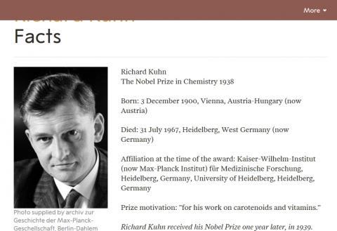 카로티노이드 및 비타민에 관한 연구로 1938년 노벨 화학상을 수상한 리하르트 쿤. ⓒ www.nobelprize.org 캡처 화면