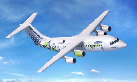 에어버스에서 개발 중인 하이브리드 전기비행기 '이-팬X(E-Fan X)'. 기존의 케로신 엔진과 전기 엔진을 혼합해 교차해 사용할 수 있는데 오는 2030년까지 100명이 탑승할 수 있는 항공기를 제작한다는 계획이다. ⓒAirbus S.A.S
