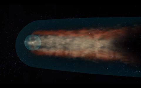 IBEX 위성이 매핑한 헬리오스피어의 꼬리 경계. ⓒ NASA / Goddard Center