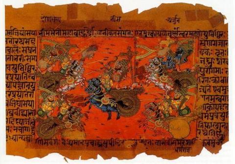 산스크리트어로 기록된 서사시 '마하바라타'의 표지. 인도의 2대 서사시 중의 하나로 상대성원리가 들어 있는 시간여행 이야기가 들어 있어 과학자들의 관심을 불러일으키고 있다. ⓒWikipedia