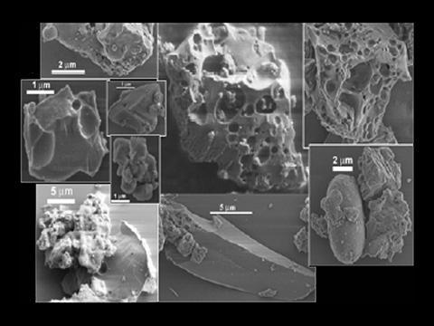 달 먼지 입자를 확대한 모습으로 화산재처럼 표면이 매우 거칠다. © NASA