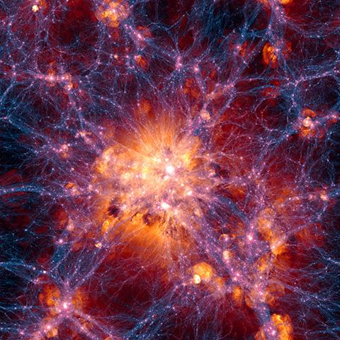 약 3억 광년 너비의 우주 클러스터 구조 시뮬레이션. 파란색은 암흑물질, 주황색은 성간 가스의 분포를 나타낸다. © Illustris Collaboration