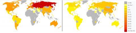 세계 10만 명당 남성 자살률(왼쪽)과 여성 자살률(오른쪽). Credit: Wikimedia / Lokal_Profil