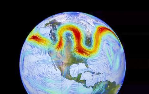 시속 180km로 이동하는 극지 제트기류의 흐름. 빠를수록 짙은 빨간색, 느린 바람은 파란색으로 표시됐다. 이번 연구에서 구불구불한 사행 패턴을 확인했다.  CREDIT: Wikimedia