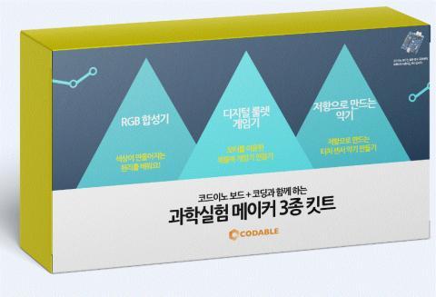 코더블이 개발한 '과학실험 메이커 3종 킷트(입문 편)' 제품.