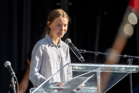 지난 9월 27일 캐나다에서 열린 시위에서 연설하고 있는 그레타 툰버그. 이 소녀의 리더십이 세계적으로 부각되면서 지금은 세계 환경운동을 이끄는 리더가 됐다. ⓒWikipedia