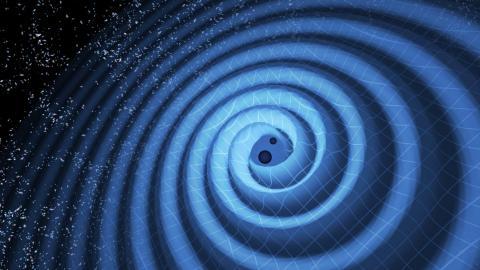 블랙홀이 충돌하면서 중력파가 생기는 모습을 그린 상상도 ⓒ LIGO/T. Pyle