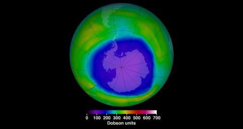 2015년 남극상공 오존층이 가장 많이 파괴됐을 때의 모습 ⓒ NASA