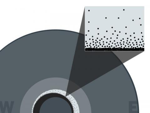 눈 같이 보이는 철 결정체가 외핵에서 내핵으로 내려가는 모습.  ⓒ 텍사스대학