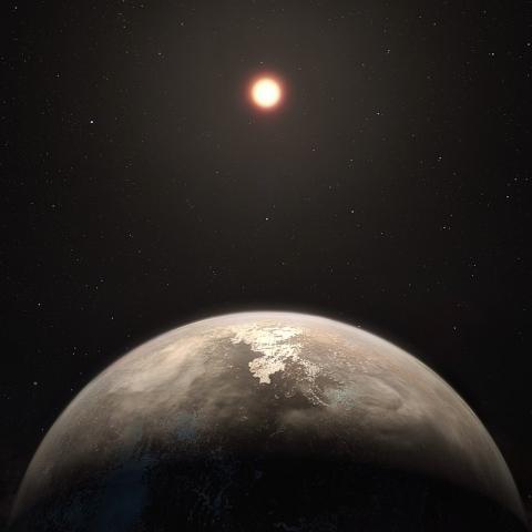 지구에서 본 '티가든의 별' 상상도. 과학자들이 이 별을 돌고 있는 행성에 물이 존재하고 있으며, 생명체가 살 수도 있다는 확신을 얻고 있다. ⓒWikipedia