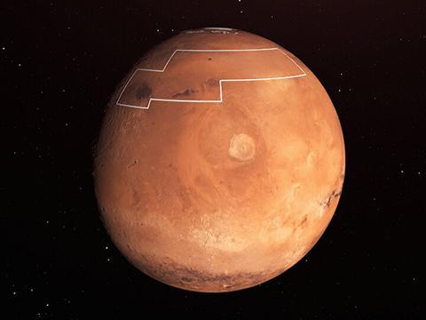 화성 북반구의 표시된 영역은 우주선이 착륙해서 쉽게 지하 수빙을 채굴할 수 있는 곳이다. 가운데 하얀 반점은 올림푸스 몬스.  © NASA / JPL-Caltech