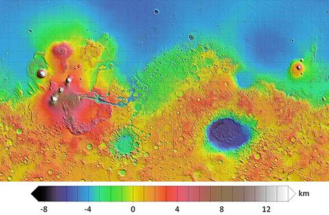 위성 레이저 고도계로 측정한 화성 지형도. © NASA / JPL / USGS