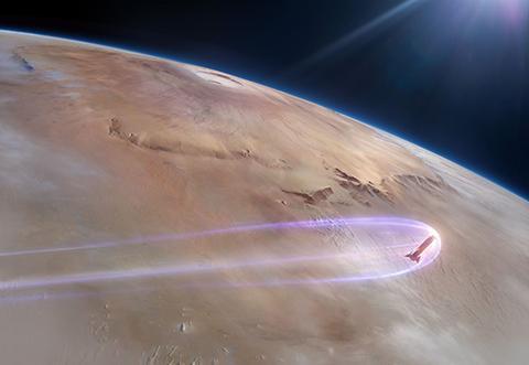 화성 대기권에 들어선 '스타쉽' 상상도. © SpaceX