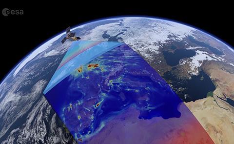 센티널-5P 위성은 2600km 너비의 영역을 동시에 감시한다. © ESA