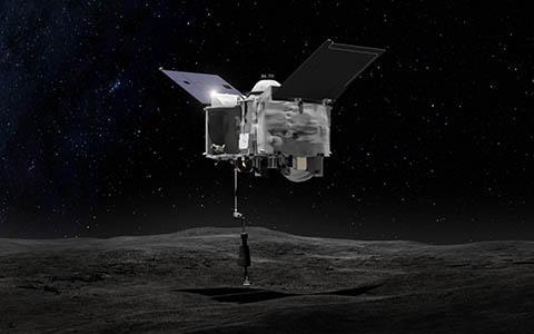 소행성 베누에 착륙한 오시리스-렉스 상상도. © NASA / Goddard