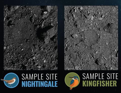 나이팅게일, 킹피셔 착륙 후보지. © NASA / University of Arizona