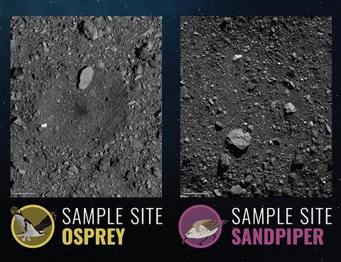 오스프리, 샌드파이퍼 착륙 후보지. © NASA / University of Arizona