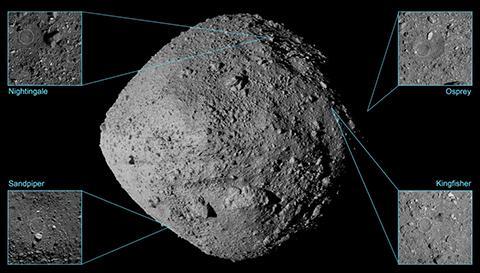 오시리스-렉스의 착륙 후보지 위치. © NASA / Goddard