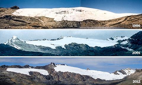 소멸하고 있는 페루의 우아이따빠야나(Huaytapallana) 빙하. © Zachary Bennett