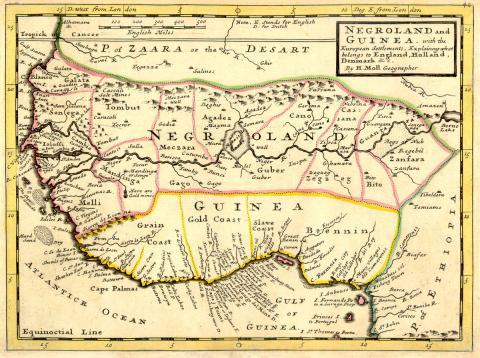 18세기 지도에는 위로부터 사하라(Zaara), 네그로랜드(negroland), 기니(Guinea)가 표기되어 있다. 네그로랜드나 기니는 같은 뜻이다.  ⓒ 위키백과