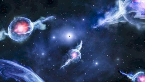 우리 은하 중심에 있는 초거대질량 블랙홀을 공전하는 붉은 색 중심을 가진 G 물체의 상상도. 블랙홀은 가운데 빛나는 흰색 점 안에 있는 검은 구체로 표현했다.  Credit: Jack Ciurlo