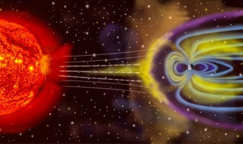 지구를 둘러싼 자기권(magnetosphere)의 구조. 태양으로부터 방사되는 고에너지 양성자가 지구 자기장에 의해 비켜가는 모습을 그렸다. CREDIT: Wikimedia / NASA
