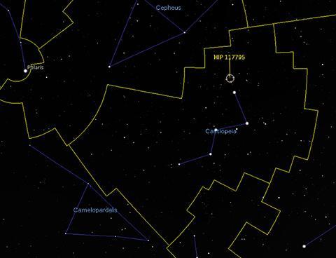 카시오페이아 별자리 한쪽 끝에 위치한 HIP 117795. © Stellarium