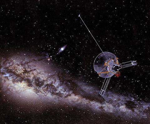 은하계를 여행하는 파이오니어 10호 상상도. © NASA Ames